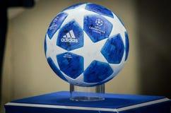 KHARKIV, UKRAINE - SEPTEMBER 19, 2018: Official Champions League. Ball 2018/19 close-up on the pedestal during UEFA Champions League match between Shakhtar stock photo