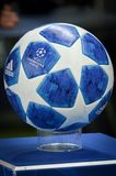 KHARKIV, UKRAINE - SEPTEMBER 19, 2018: Official Champions League. Ball 2018/19 close-up on the pedestal during UEFA Champions League match between Shakhtar stock photography