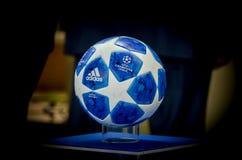 KHARKIV, UKRAINE - SEPTEMBER 19, 2018: Official Champions League. Ball 2018/19 close-up on the pedestal during UEFA Champions League match between Shakhtar stock photos