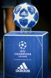 KHARKIV, UKRAINE - SEPTEMBER 19, 2018: Official Champions League. Ball 2018/19 close-up on the pedestal during UEFA Champions League match between Shakhtar royalty free stock photography