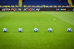 KHARKIV, UKRAINE - SEPTEMBER 19, 2018: Official Champions League. Ball 2018/19 close-up during UEFA Champions League match between Shakhtar Donetsk vs TSG 1899 royalty free stock images
