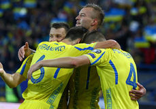 FIFA World Cup 2018 Ukraine vs Turkey in Kharkiv, Ukraine. KHARKIV, UKRAINE - SEPTEMBER 2, 2017: Ukrainian players celebrate after scored a goal during FIFA Stock Photos