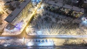 Kharkivstad van bovengenoemde nacht timelapse bij de winter ukraine stock footage