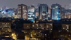 Kharkivstad van bovengenoemde nacht timelapse bij de winter ukraine stock video