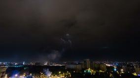 Kharkivstad van bovengenoemde nacht timelapse ukraine stock video