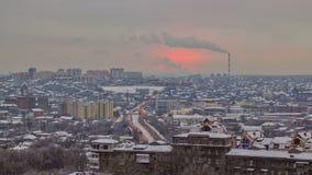 Kharkivstad van bovengenoemde timelapse bij de winter ukraine stock footage