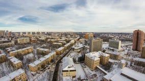Kharkivstad van bovengenoemde timelapse bij de winter ukraine stock videobeelden
