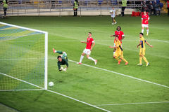 Kharkov,Ukraine-August,2012.Europa League qualification. Metalist,Kharkov-Dynamo,Bucharest, 2-1.Rules for goalkeepers and forwards Royalty Free Stock Photos