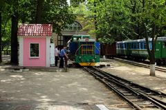 Kharkov, Ukraine, July 12, 2014, Movement of the children's railway locomotive depot Stock Photography