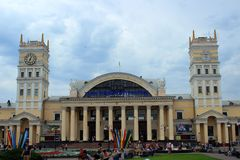 Kharkov, Ukraine, July 12, 2014,The station building in Kharkiv and the station square Royalty Free Stock Photo