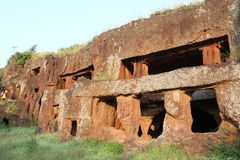 Rock cut buddhist caves. Remains of Ancient Buddhist rock cut caves in Kharosa, Latur, India royalty free stock photos