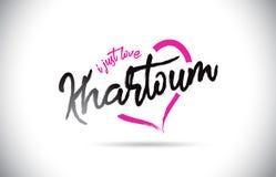 Khartoum älskar jag precis ordtext med den handskrivna stilsorten och rosa hjärta Shape stock illustrationer