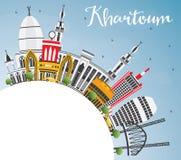 Khartoum horisont med Gray Buildings, blå himmel och kopieringsutrymme royaltyfri illustrationer
