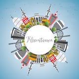 Khartoum horisont med Gray Buildings, blå himmel och kopieringsutrymme stock illustrationer