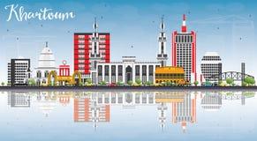 Khartoum horisont med Gray Buildings, blå himmel och reflexioner royaltyfri illustrationer