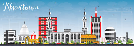 Khartoum horisont med Gray Buildings och blå himmel royaltyfri illustrationer