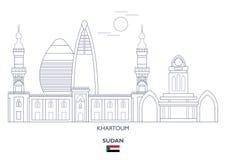 Khartoum stadshorisont, Sudan royaltyfri illustrationer