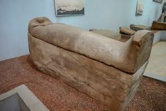 Replica of a sarcophagus with a black pharaoh in the National Museum stock photo