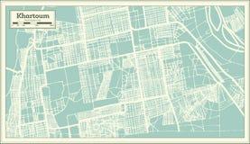 Khartoum Sudan stadsöversikt i Retro stil skisserar kartlägger vektor illustrationer