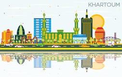 Khartoum Sudan stadshorisont med färgbyggnader, blå himmel och R stock illustrationer