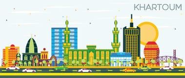 Khartoum Sudan stadshorisont med färgbyggnader och blå himmel royaltyfri illustrationer