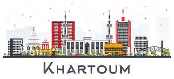 Khartoum Sudan stadshorisont med Gray Buildings Isolated på Whit vektor illustrationer