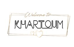 Khartoum välkomnande som smsar neon som märker typografi Ord för logotypen, emblem, symbol, vykort, logo, banervektorillustration stock illustrationer