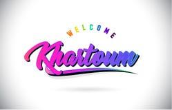 Khartoum välkomnande som uttrycker text med den idérika purpurfärgade rosa handskrivna vektorn för stilsorts- och SwooshShape des stock illustrationer