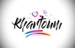 Khartoum välkomnande som uttrycker text med förälskelsehjärtor och den idérika handskrivna stilsortsdesignvektorn stock illustrationer