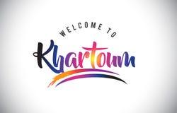 Khartoum välkomnande till meddelandet i purpurfärgade vibrerande moderna färger royaltyfri illustrationer