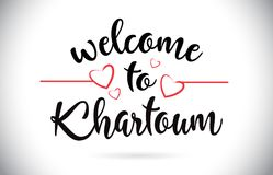 Khartoum välkomnande till meddelandevektortext med röda förälskelsehjärtor dåligt stock illustrationer