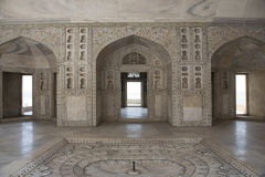 Khas Mahal inside Agra Fort. India. Inside the fortress of Agra Khas Mahal. Moorish-style arch decorated for marble royalty free stock photography