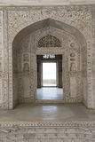 Khas Mahal inside Agra Fort. India. Inside the fortress of Agra Khas Mahal. Moorish-style arch decorated for marble stock photo