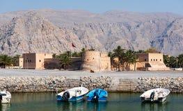 Khasab fort i den Musandam governoraten av Oman royaltyfri fotografi