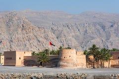 Khasab fort i den Musandam governoraten av Oman royaltyfria bilder