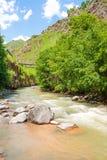 Khasaut-Fluss im Tal Narzanov Die Republik von Kabardino-Balkarien, Russland Stockbilder