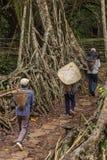 Khasi ludzie od Riwai wioski utrzymania korzeni mosta w Meghalaya stanie skrzyżowania, India obrazy stock