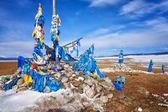 Khata - traditional ceremonial scarf . Mongolia Stock Photography
