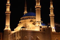 Khatem-Al-Anbiyaa-Moschee in Beirut. December 2008, new Khatem-Al-Anbiyaa-mosque in Beirut, Lebanon at christmas Stock Photography