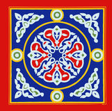 Egyptian Tent Fabric Pattern Blue and Red Khayamia arabic folkloric design Royalty Free Stock Photography