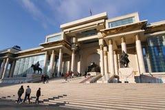 Khbaatar fyrkant för SÃ-¼ i Ulaanbaatar, Mongoliet Arkivfoton