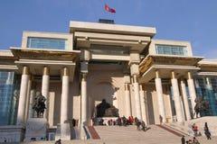 Khbaatar fyrkant för SÃ-¼ i Ulaanbaatar, Mongoliet Royaltyfria Bilder