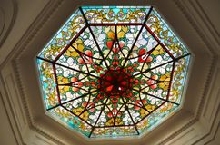 Khedive stained glass ceiling of the pavilion. Khedive handmade cut glass pavilion with stained glass ceiling hidiv kasri vivid color colour historical historic Royalty Free Stock Photo