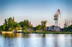 Kherson, de rivierhaven van rivierdniepr, mooie mening stock afbeeldingen
