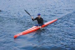 Kherson, Ucrania, competencia de septiembre 30,2014 del rowing Michae Fotografía de archivo