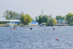 Kherson, Ukraina, Września 30,2014 wioślarstwo rywalizacja sporty zdjęcia stock