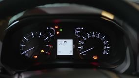 Car Speedometer on dashboard close-up. Kherson, Ukraine 22 December 2017: Car Speedometer on dashboard close-up in Kherson, 22 December 2017 stock video
