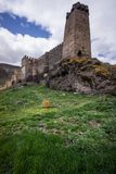 Khertvisi Fortress ancient georgian fortification. Traveling through Georgia in spring Khertvisi Fortress ancient georgian fortification stock photos