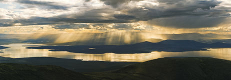 Khibiny. View from the Khibiny tundras on Monchetundra. Panorama Royalty Free Stock Photography