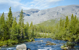 Khibiny Mountains with Kunijok river and Northern Chorrgor Pass Stock Images